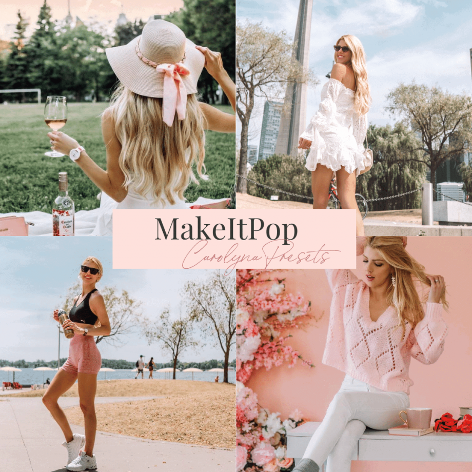 make it pop pastel pink blue presets instagram feed easy girly feminine bold one click editing