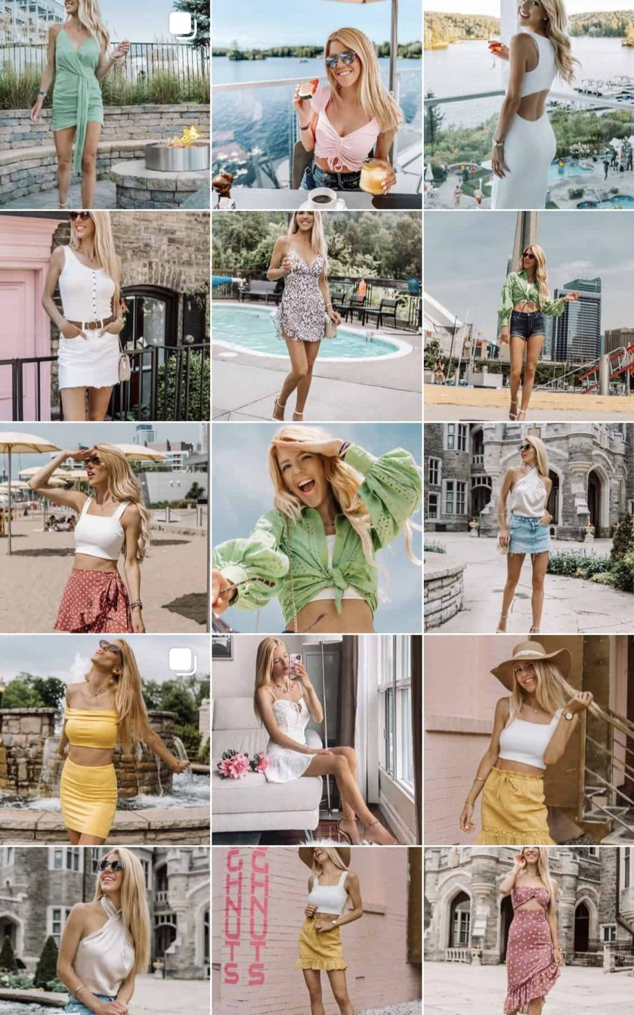 Colourful instagram feed presets beach summer fall pop bold blonde