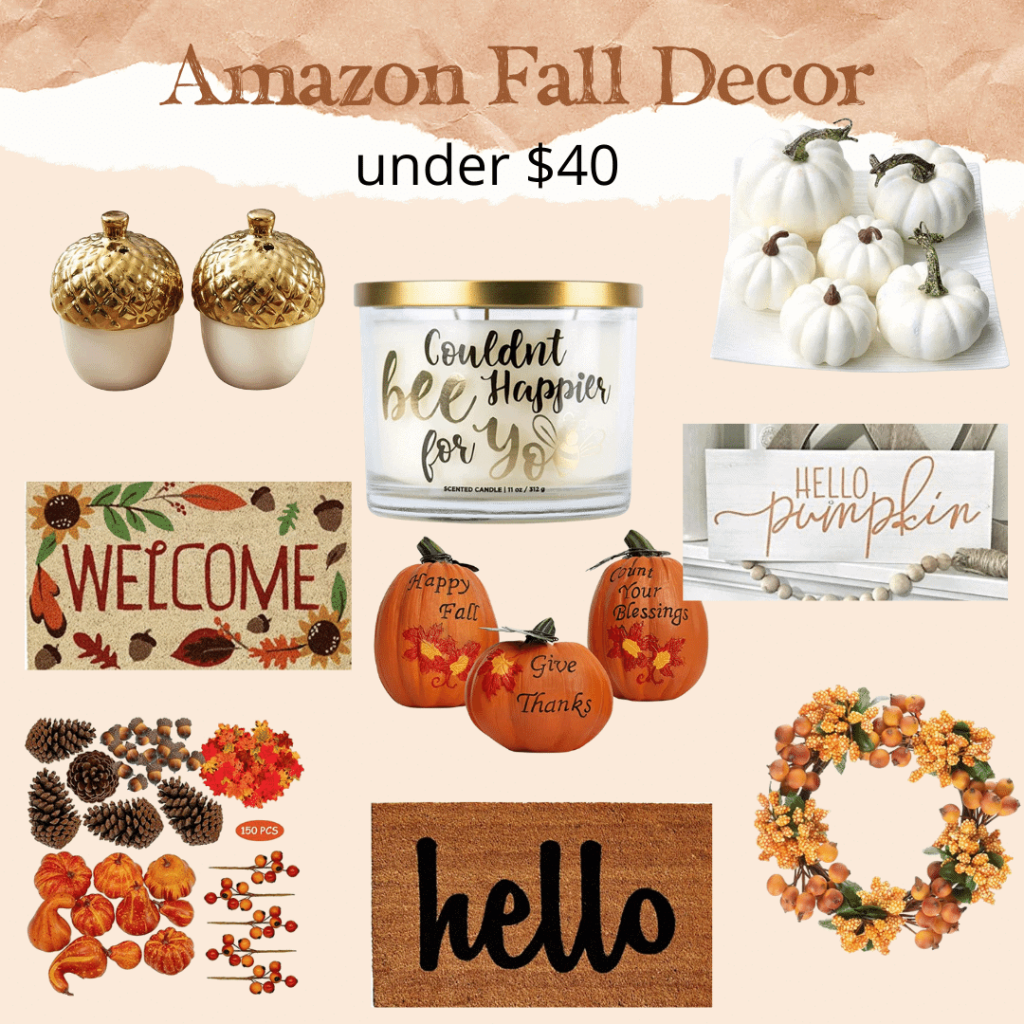 amazon fall decor under 40 candles salt pepper floor mat pumpkins decoration leaves white orange smell good