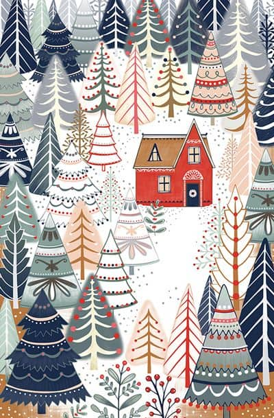 Colorful forest Christmas house background/template/wallpaper
