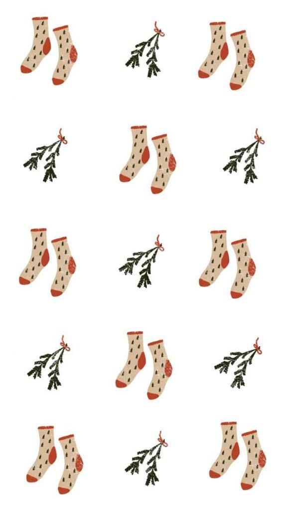 Mistletoe and socks background/wallpaper/template