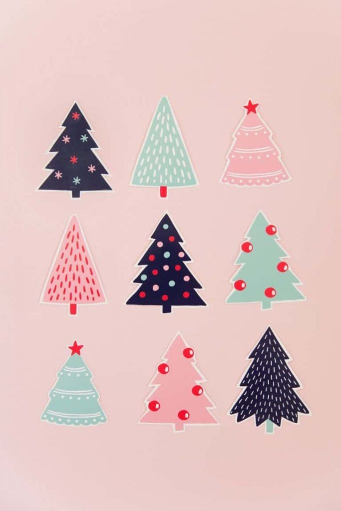 Pink Christmas trees background/template/wallpaper