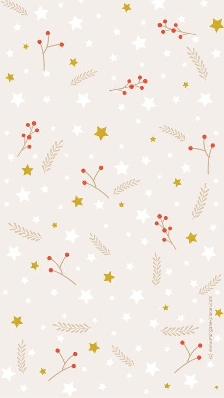 Beige mistletoe and holly background/template/wallpaper