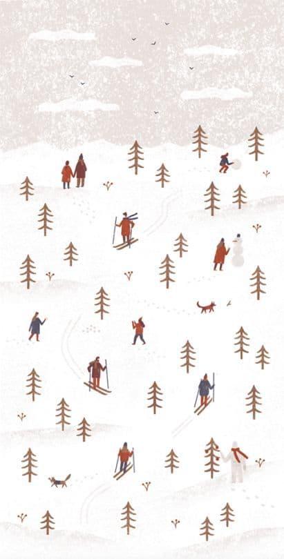 Ski Christmas city background/template/wallpaper