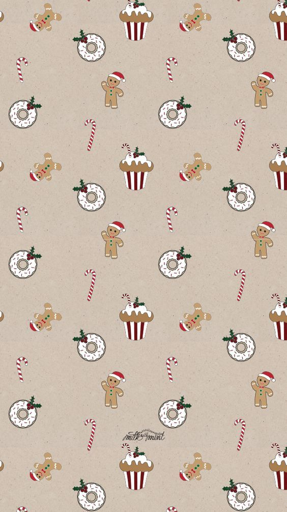 Beige cookies and candy canes background/wallpaper/template