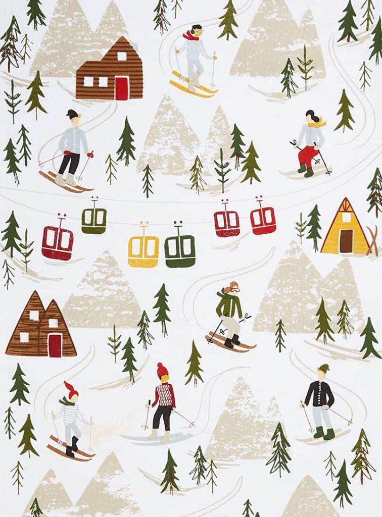 White ski Christmas city background/wallpaper/template