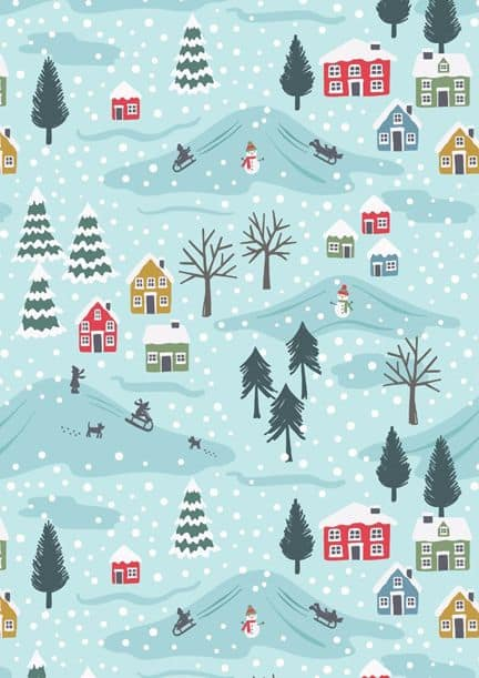 Blue snowy day Christmas city background/template/wallpaper