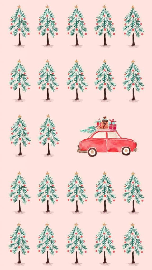 Pink Christmas trees and car background/template/Wallpaper