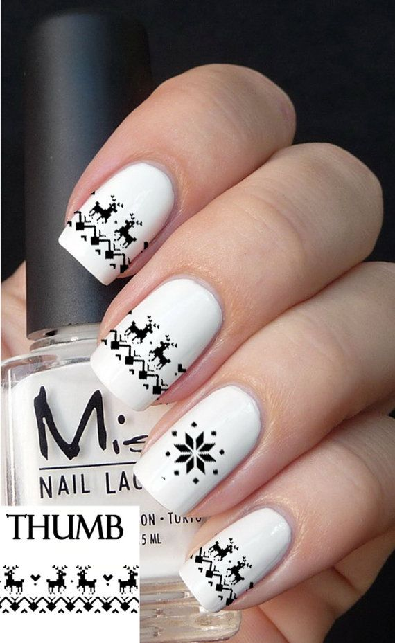 Black and white Christmas nail design