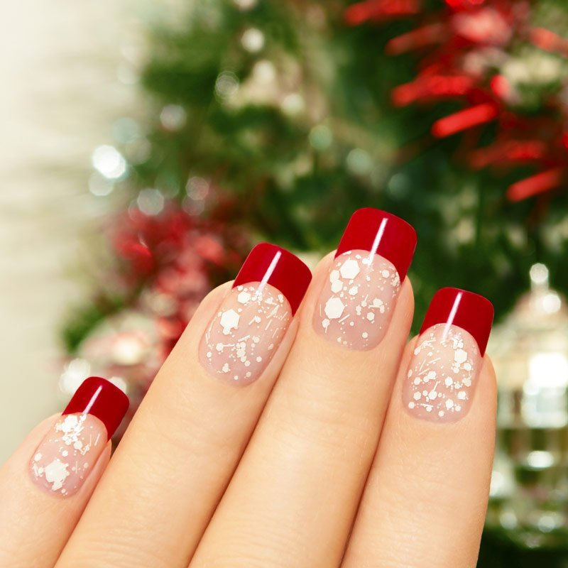 Red and white french christmas manicure