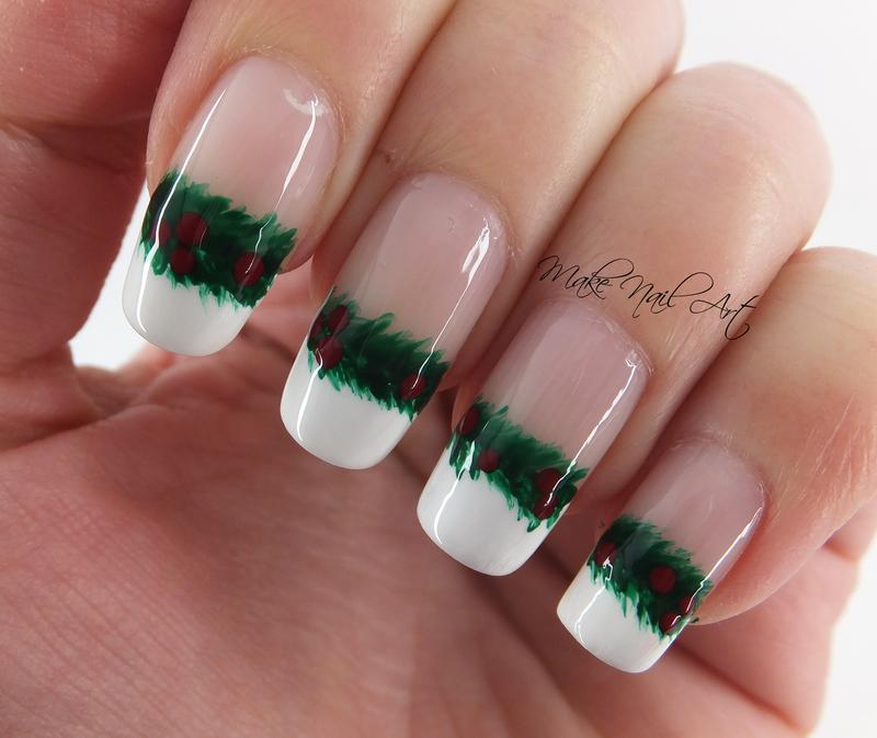White and green holly french christmas manicure